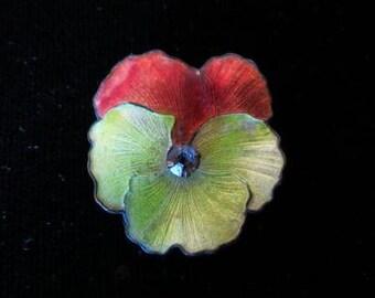 Victorian Enamel Guilloche Pansy Flower Pin