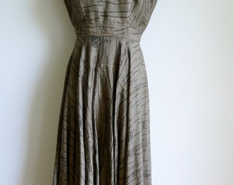 Zandra Rhodes early 90s linen cotton mix summer dress with open back