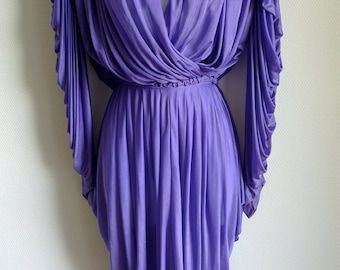 SALE Rare early 70s OMO Norma Kamali purple draped top skirt ensemble