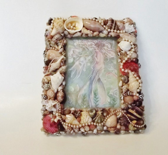 Seashell picture frame seashell wall decor mermaid brown pearls 8 x 10 inches from - Wall decoration with pearls ...