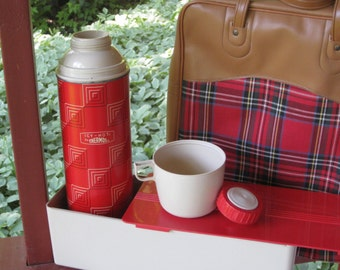 Vintage Camping Picnic Set Kit Red Thermos Plaid Bag Sandwich Box Glamping Tailgating Retro Gift Fishing Tote Day Trip
