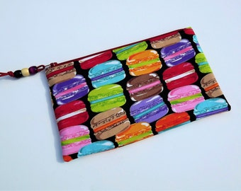 Pencil Case, Zippered Pouch, Cosmetic Case, French Macaroons