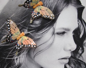 2- Coral -black  Feathers Butterflies Hair Clips for weddings