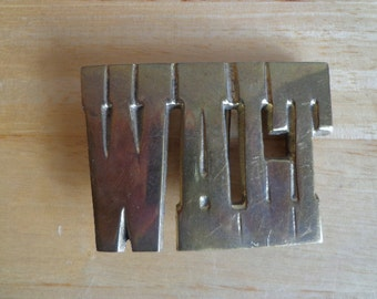 Vintage Brass Buckle with Name of Walt