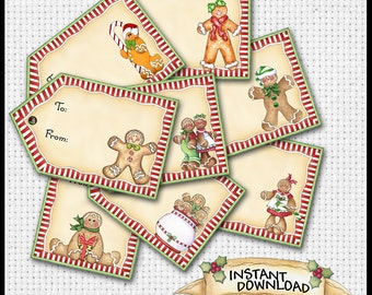 Gingerbread Man Xmas Gift Tags / Gingerbread Boys & Girls / Instant Download Christmas Hang Tags / Red and White Stripes, Green Border