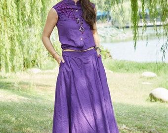Chinese folk style Loose fitting Sundress in purple more colour and size choice)