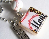 Baseball Mom SCRABBLE TILE Pendant and Chain ONLY - Charms, Beads, Name Tags Extra