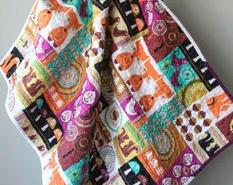 Baby Fox Quilt, Modern Baby Quilt, Woodland Quilt, Nursery Bedding, Boy Quilt , Girl Quilt, Michael Miller, Fox Quilt, Handmade Quilt