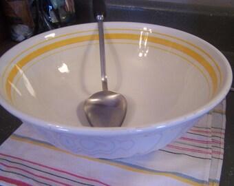 Vintage Yellow Banded Mixing Bowl, Extra Large, Creamy Ivory, Italy, Italian, Pasta Bowl