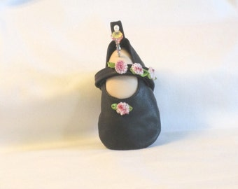 Handmade Pincushion - Soft Sculpture Foot in tiny Black Leather Mary Janes by Goody Goody - My Left Foot - Vanilla