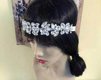 The Great Gatsby Headband, Rhinestone 20s Headpiece, Flapper Headband, Rhinestone Flapper Headpiece, Wedding Flapper Headpiece