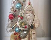 Santa Claus- Belsnickel- papier mache- figurine- folk art doll-hand made doll- Christmas