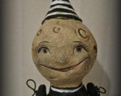 Moon girl - Halloween  -paper mache - handmade art doll- folk art- jointed arms