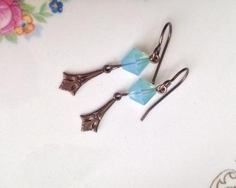 Fleur De Lis Drop Earrings with Green Opal Swarovski Crystal - Dangle Earrings - Edwardian - Brass Earrings - Jewelry - Gift For Her