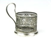 Russian podstakannik, Vintage tea glass holder, filigree podstakannik