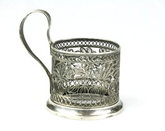 Russian podstakannik, Vintage tea glass holder, filigree podstakannik