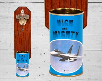 F-15 Aircraft Bottle Opener with Vintage High and Mighty Airplane Beer Can Cap Catcher - Gift for Groomsmen