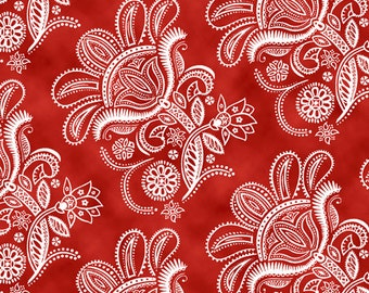 Ceylon - Paisley Floral in toil in Dark tomato by Quilting Treasures - by the yard