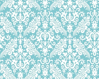 Hollywood Med Damask White on Aqua- flannel  - by the yard