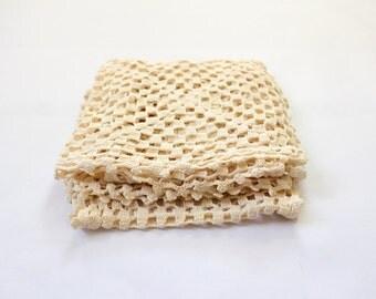 Set of 4 Natural Crochet Granny Squares