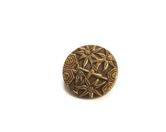 Antique Brass Bamboo Floral Button Industrie Parisienne