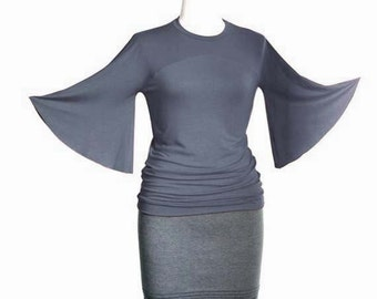 Bell sleeve top / Womens top/shirt / Custom blouse / Elegant grey top with bell sleeves / Round neckline top