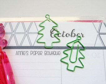 CHRISTMAS TREE Planner Clip - Use with Your Erin Condren, Filofax, Happy Planner, Travelers Notebook, Kate Spade, Green Metal Paper Clip