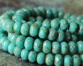 SALE 5x3mm Rondelle Beads - Czech Glass Beads - Jewelry Making Supplies - 3x5mm Turquoise Picasso (30 pieces)
