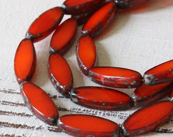 Premium Czech Picasso Glass Spindle Beads - Jewelry Making Supplies 18x7mm (10 beads) Orange