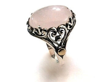 Cocktail Ring, sterling silver ring, silver gold ring, rose quartz ring, statement ring, gemstone ring, bohemian jewelry  - Our Love R2161