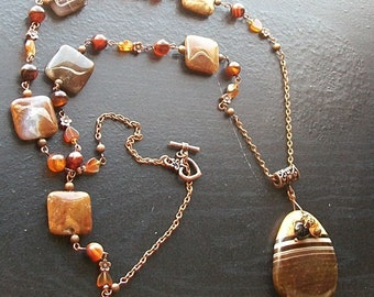 Brown Striped Agate with Red Agate Hearts and Brown Opal Squares Copper Flowers-Fall's Bumble Bee-Extra Long Gemstone Necklace, Autmunal