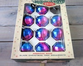 Vintage Shiny Bright Ombre Ornaments in Original Box Set of 11 Purple and Blue