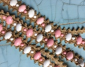 "Vintage MOD Metallic Beaded Trim: 1960s Chunky Plastic Cabochon and Gold Trim & Tapes, 46"" Length, Sewing Needlecraft Supplies"