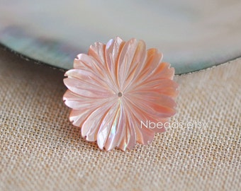 10pcs Pink Mother of Pearl Shell Carved Flowers 28mm Large Center Drilled (V1215)