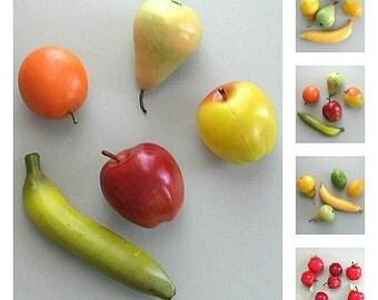 Craft Fruit Supplies Apple Fruit Decor Banana Orange Fruit Plastic Apple Decor Plastic Fruit Decoration Kitchen Fruit Fake Faux Artificial