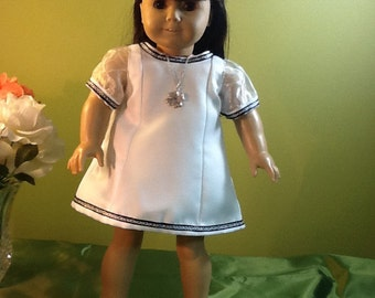 Communion - Flower Girl - American Girl Doll - White Dress - Silver Shoes - Necklace