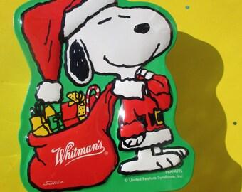 Christmas Snoopy Peanuts Whitman's Candy Tin, Vintage, Santa Snoopy