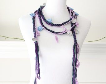 Crochet Purple, Lavender, Silver, Blue Lariat, Scarf, Necklace, Scarflette