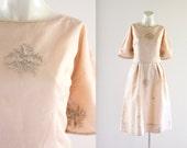 embroidered blush organza dress / 1950's