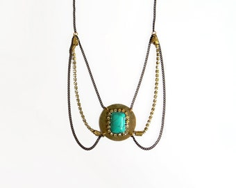 Turquoise Statement Necklace, Boho Chic Necklace, Layered Collar Necklace, Turquoise Jewelry, Turquoise Choker