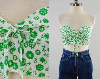 Vintage 50s 60s green floral bustier top / Perfect summer bra top / size 36 / Unworn deadstock MINT condition