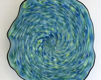 Beautiful Hand Blown Glass Art Wall Platter Bowl 7082 BLUE GREEN  ONEIL