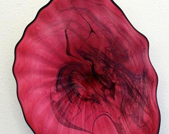 Beautiful Hand Blown Glass Art Wall Platter Bowl Pink 7123 ONEIL