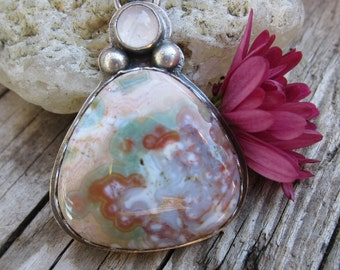 Pink and Green Ocean Jasper with Rose Quartz and Silver Necklace Handmade