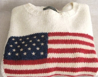 Ralph Lauren Sweater, Mens Sweater, Hand Knit, Flag Sweater, Wool Sweaters, Mens, Mans Sweater, Cream, American Flag, Sweaters, Americana