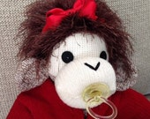 Baby Sock Monkey Rachel.  Rockford Red Heel sock monkey.  Made by hand in the USA.