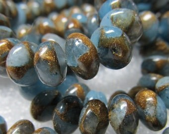 Jasper Beads 8 X 4mm Natural Colonial Blue Jasper Cloisonne Smooth Round Rondelles -  16 Pieces
