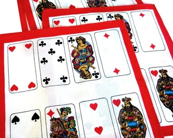 Set of Card Playing Linens - 4 Napkins and One Runner - Bridge Linen Set - King of Hearts - Queens of Spades - Fabric Napkins for Card Game