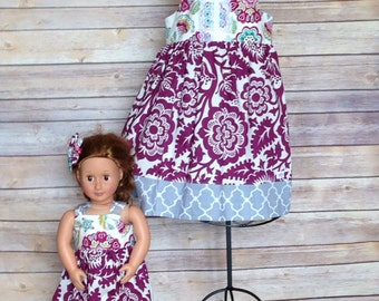 Boutique Girls dolly and me purple floral knot dresses, size 1-8, girls fall dress