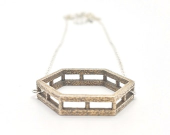 Remastered Hexagon // Geometric Necklace // 3D Printed Steel Brass Silver Necklace // Contemporary Jewelry